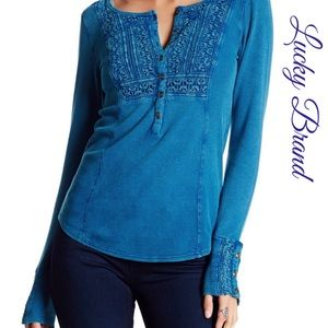 Lucky Brand Embroidered Thermal Knit Henley Top